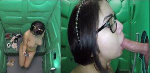 Gloryhole swallow d'une asiatique aux toilettes publiques - Glory Hole
