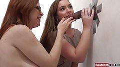 Salope brunette suce une queue dans un Gloryhole